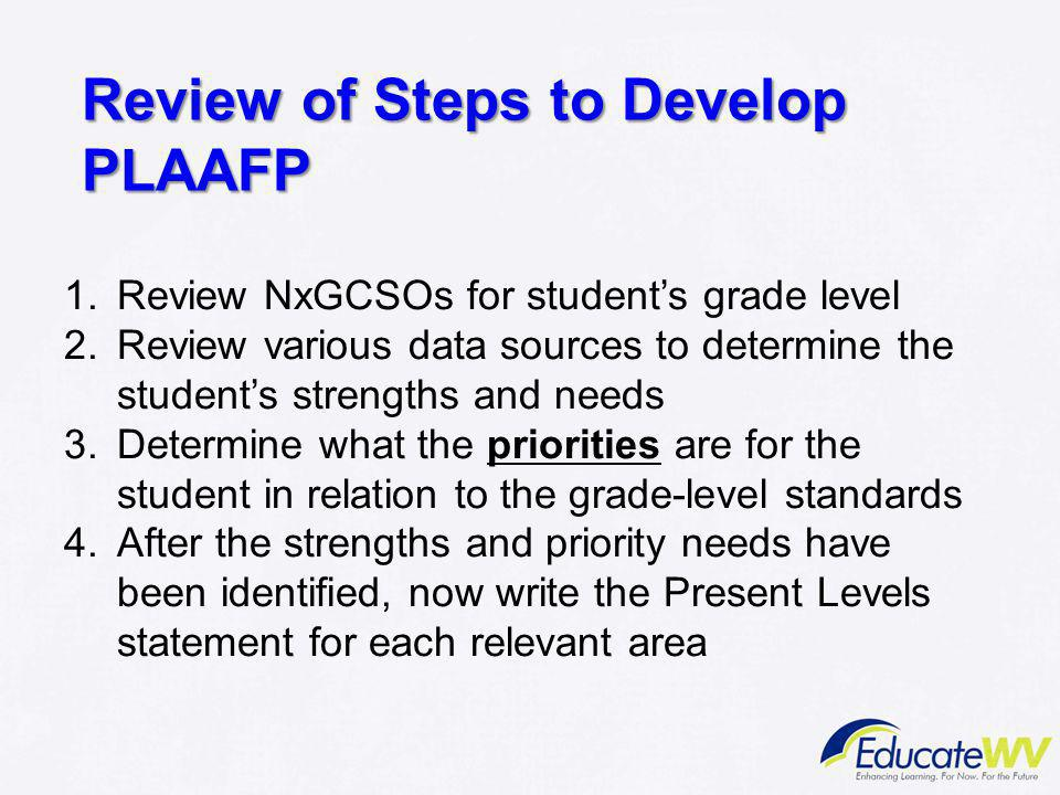 Review of Steps to Develop PLAAFP