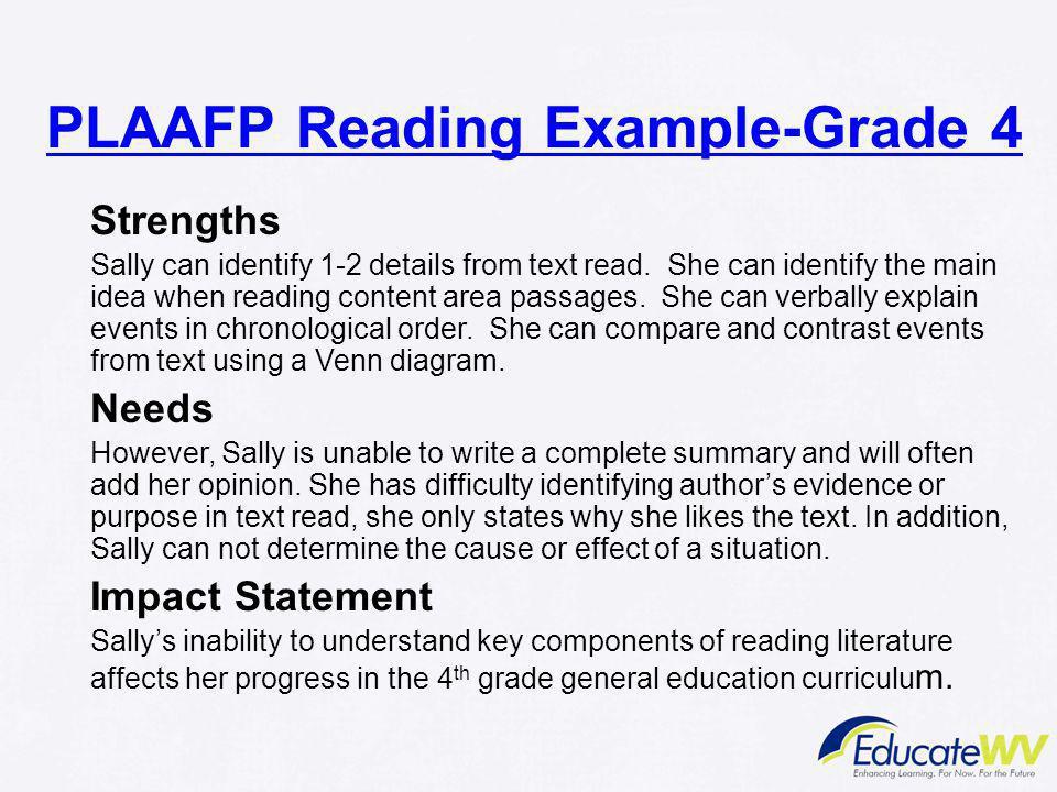 PLAAFP Reading Example-Grade 4