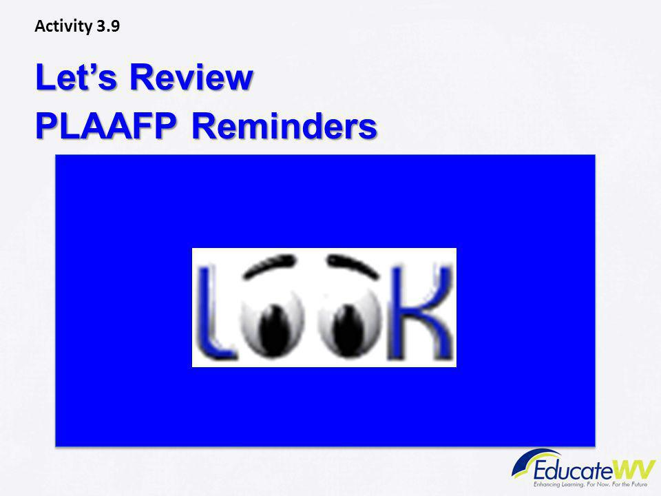Let's Review PLAAFP Reminders