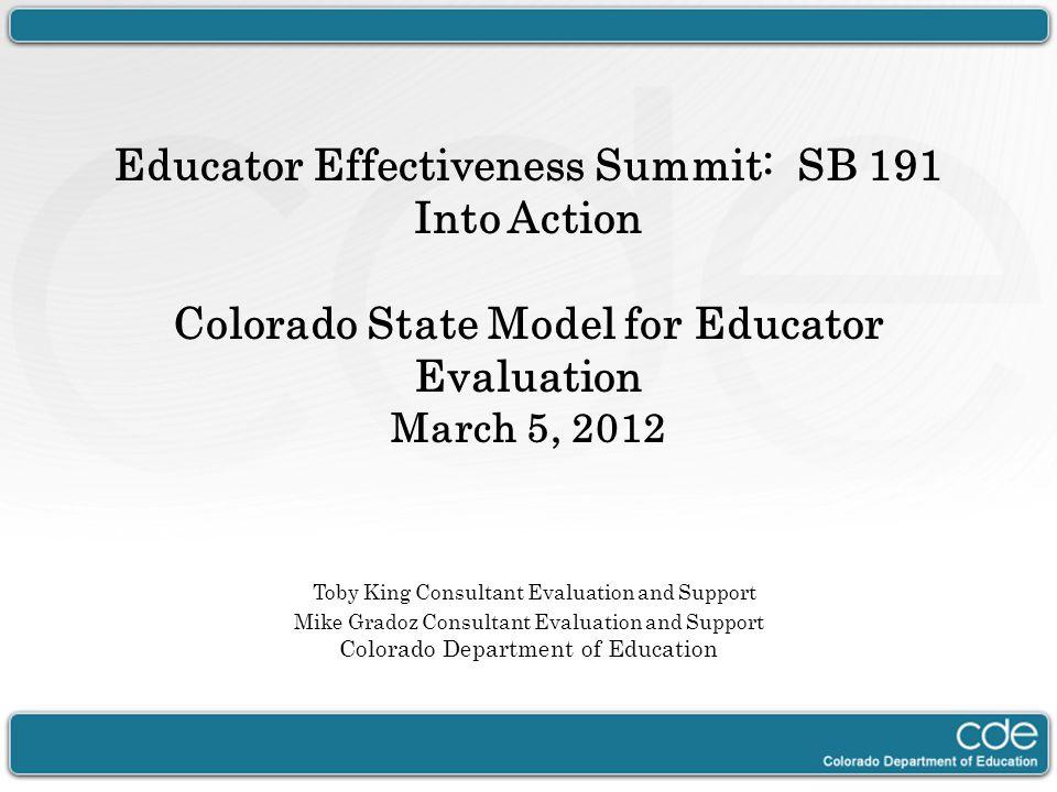 Educator Effectiveness Summit: SB 191 Into Action