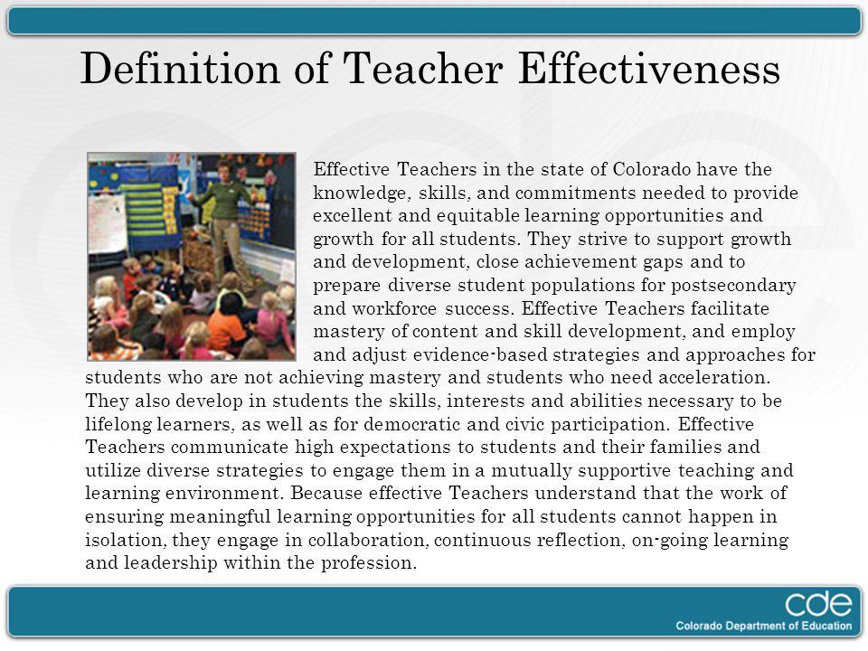 Definition of Teacher Effectiveness