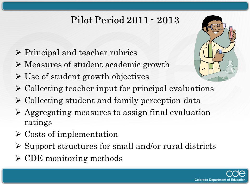 Pilot Period 2011 - 2013 Principal and teacher rubrics