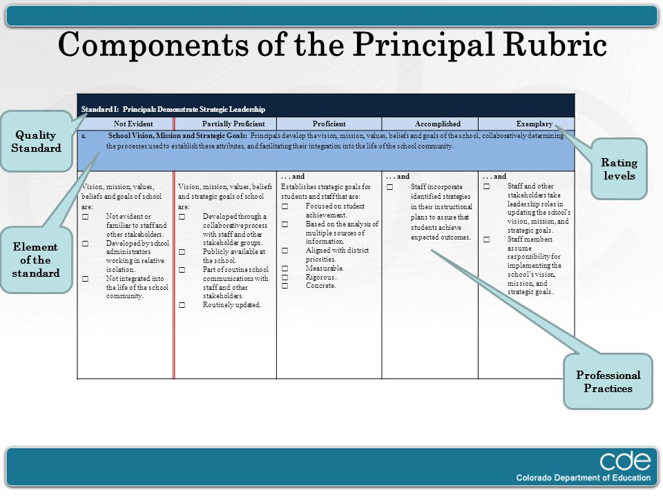 Components of the Principal Rubric