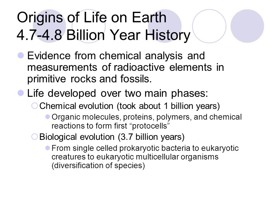 Origins of Life on Earth Billion Year History