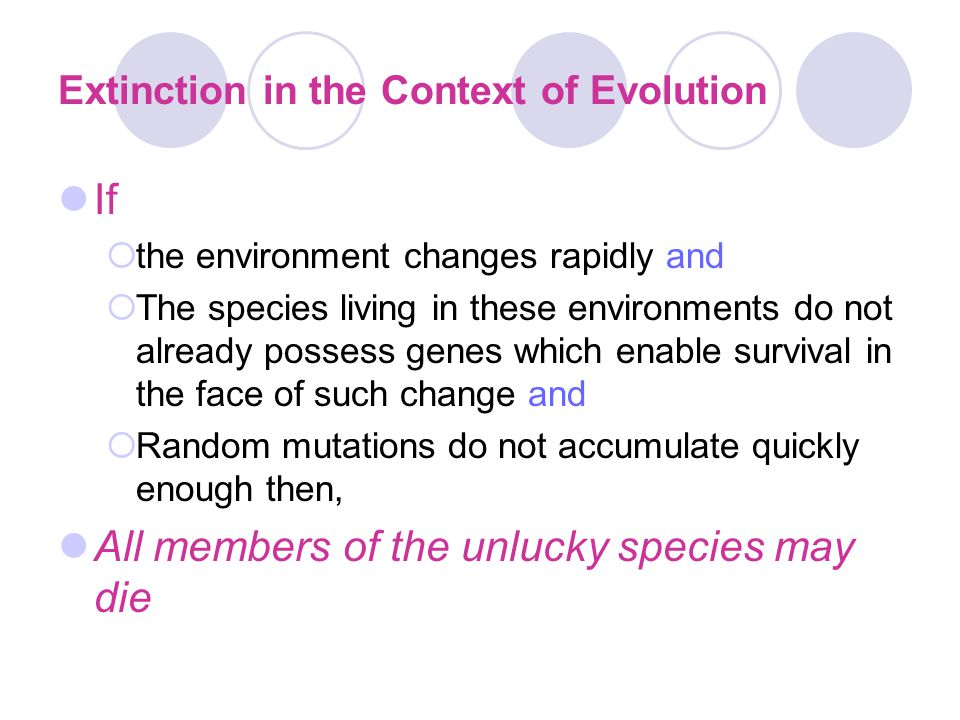 Extinction in the Context of Evolution