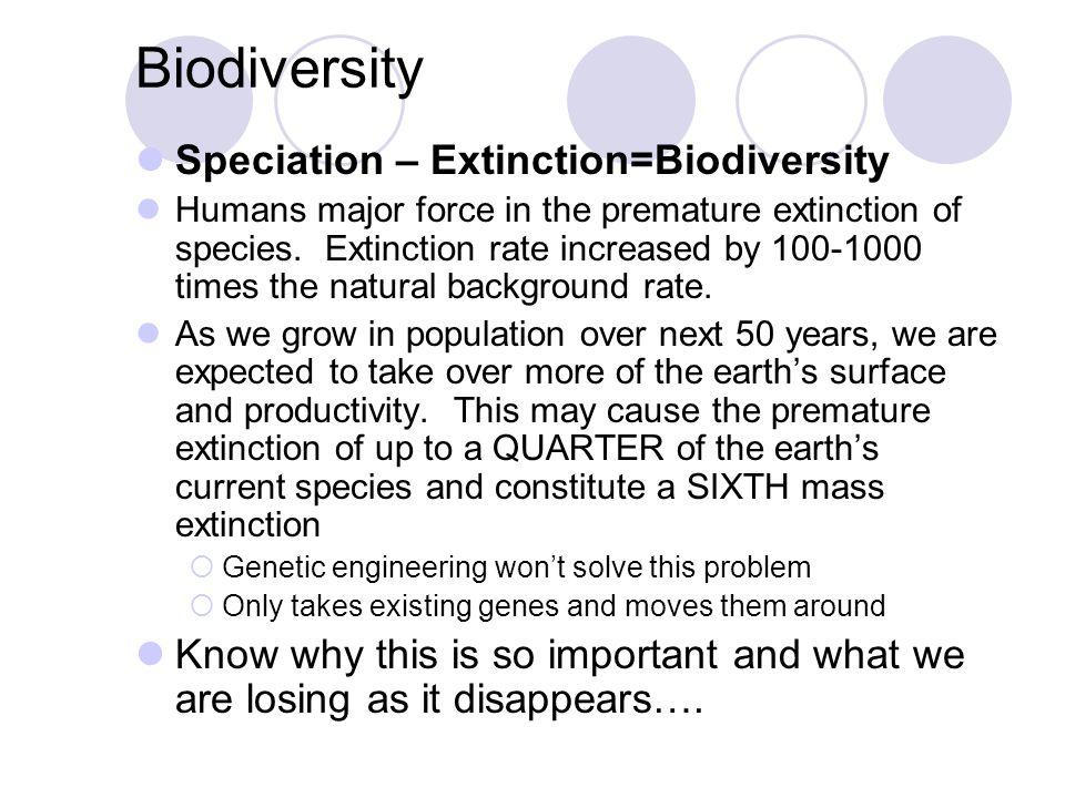 Biodiversity Speciation – Extinction=Biodiversity