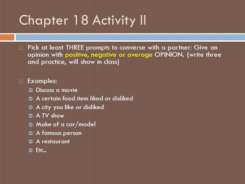 Chapter 18 Activity II