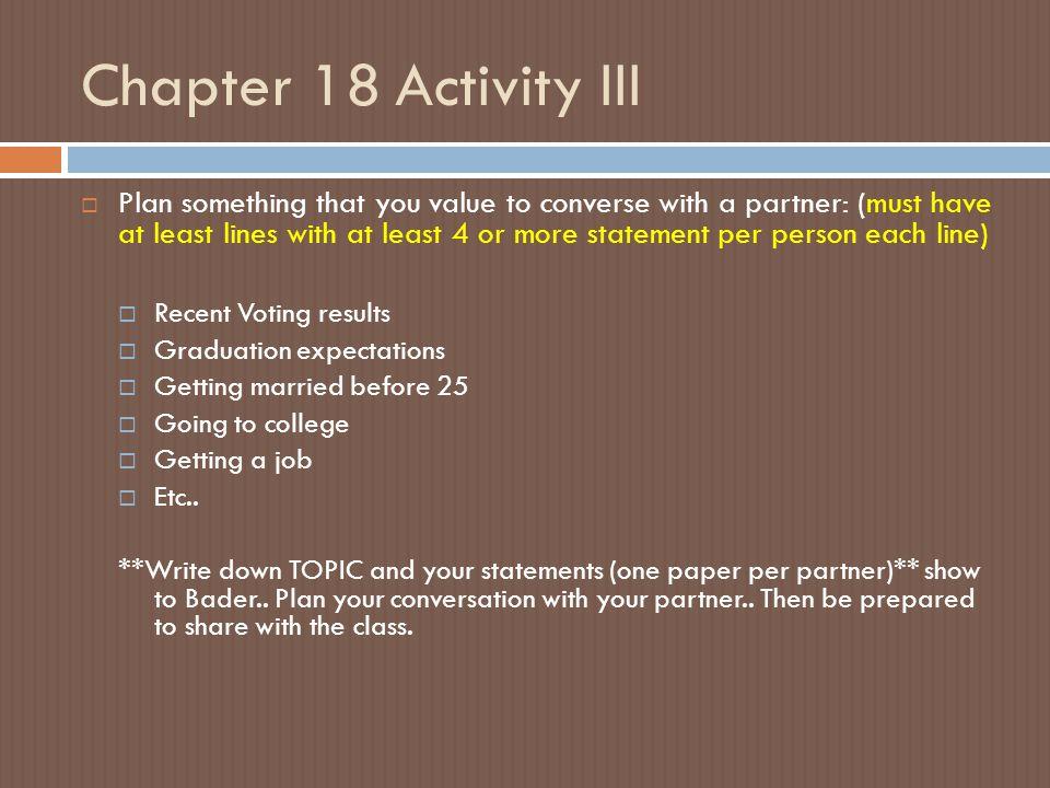 Chapter 18 Activity III