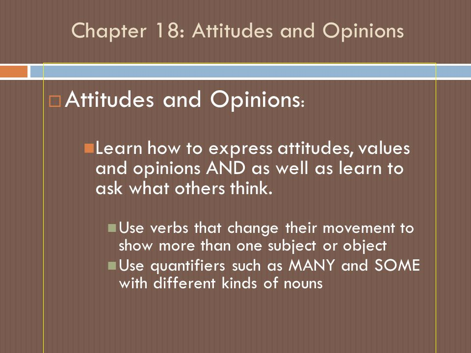 Chapter 18: Attitudes and Opinions