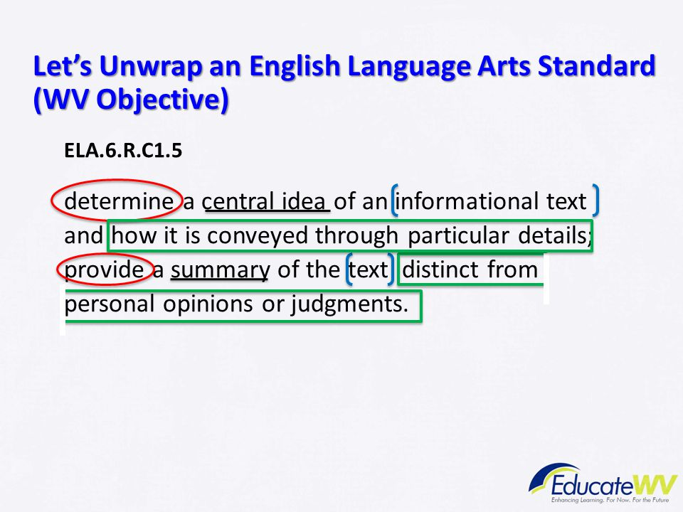 Let's Unwrap an English Language Arts Standard (WV Objective)