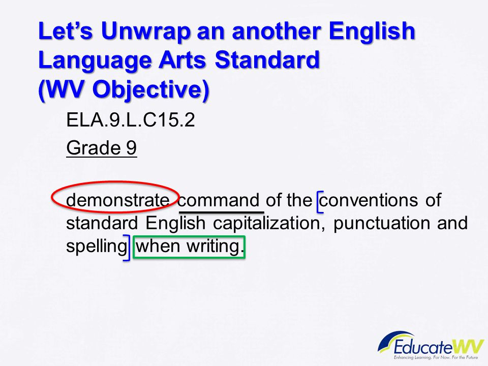 Let's Unwrap an another English Language Arts Standard (WV Objective)
