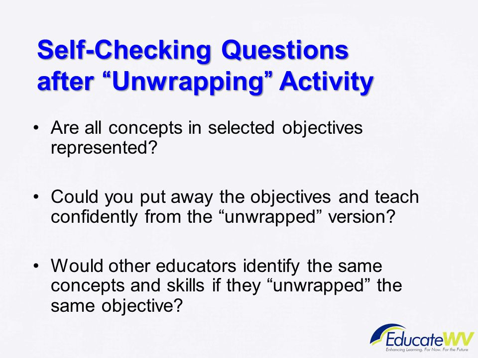 Self-Checking Questions after Unwrapping Activity