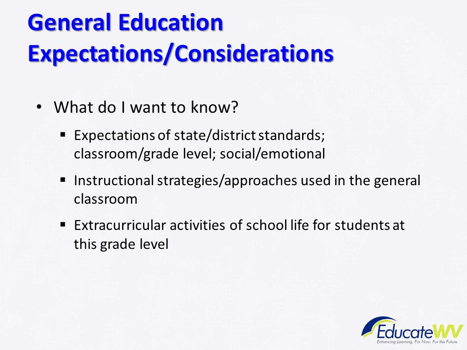 General Education Expectations/Considerations