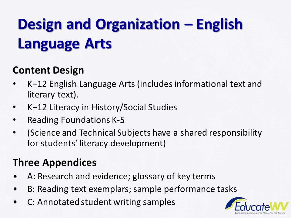 Design and Organization – English Language Arts