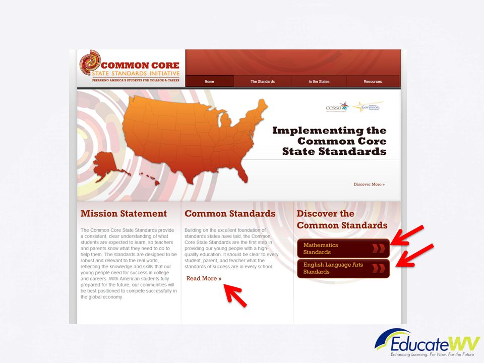 Trainer Notes: Common Core State Standards Website