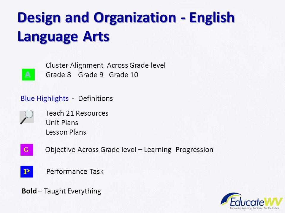 Design and Organization - English Language Arts