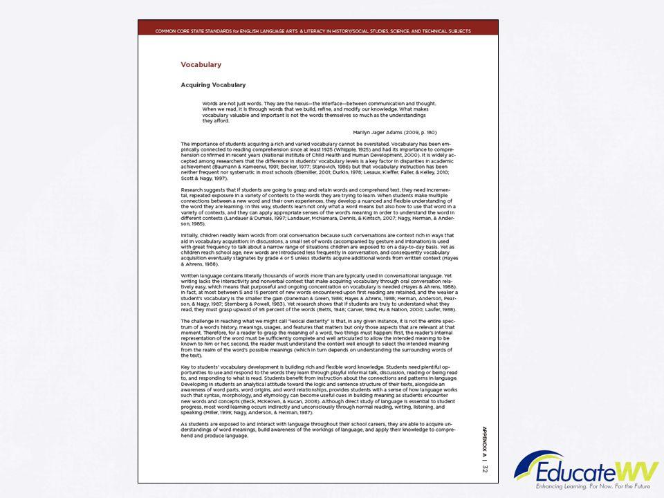 Trainer Notes: Vocabulary pp. 32-35 Appendix A CCSS