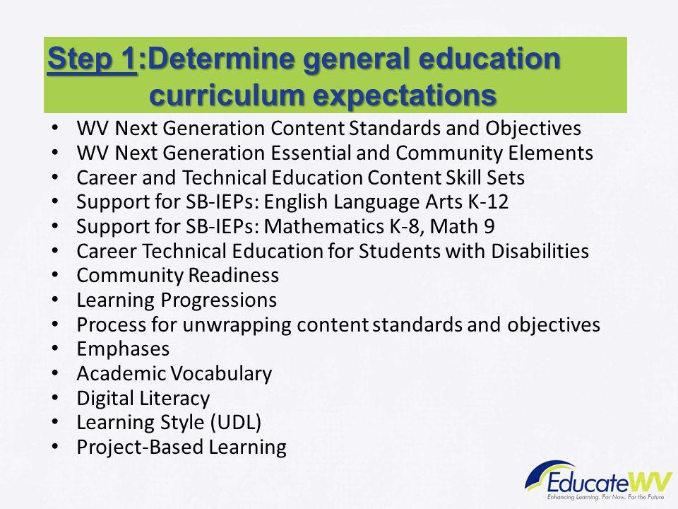 Step 1:Determine general education curriculum expectations