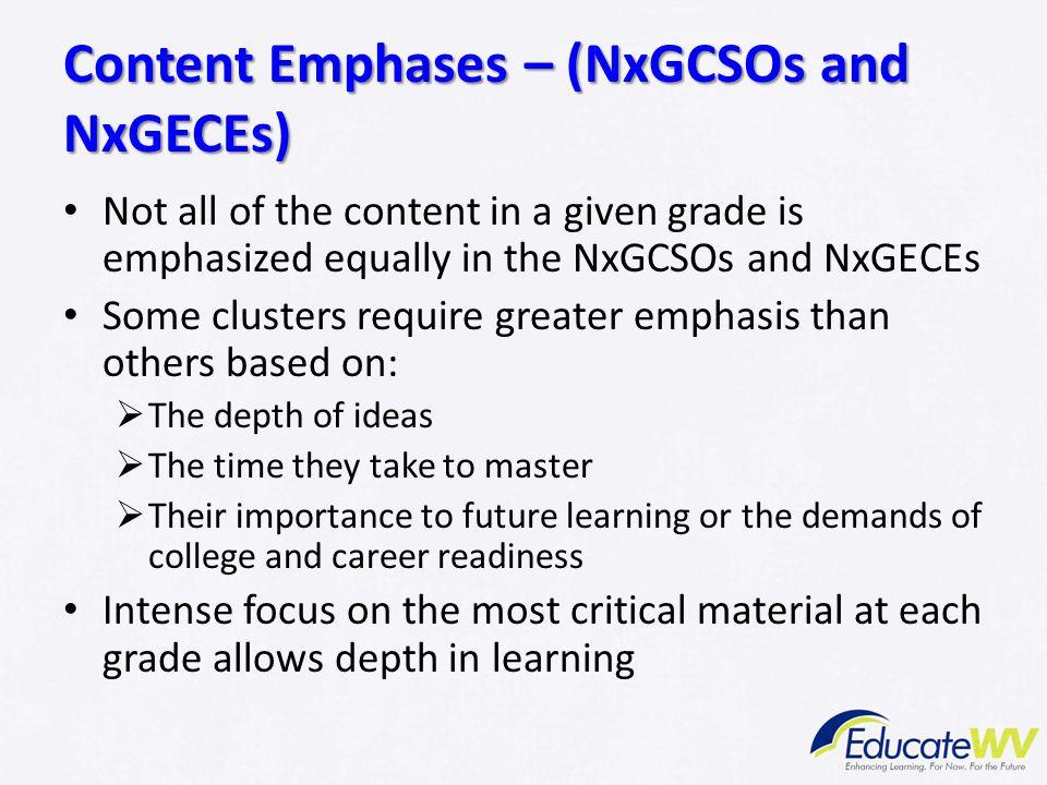 Content Emphases – (NxGCSOs and NxGECEs)