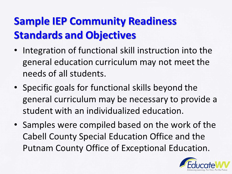 Sample IEP Community Readiness Standards and Objectives