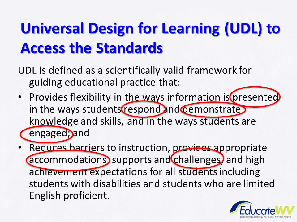 Universal Design for Learning (UDL) to Access the Standards