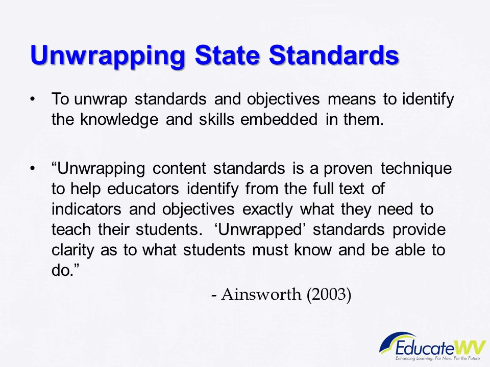 Unwrapping State Standards