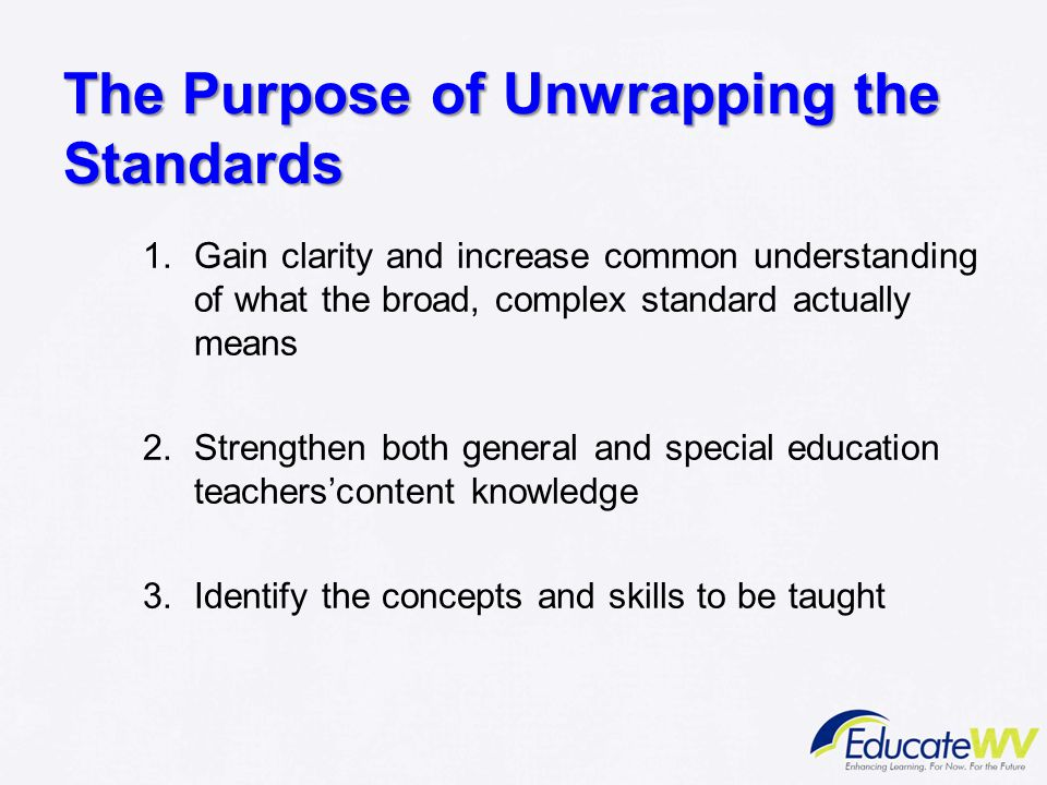 The Purpose of Unwrapping the Standards