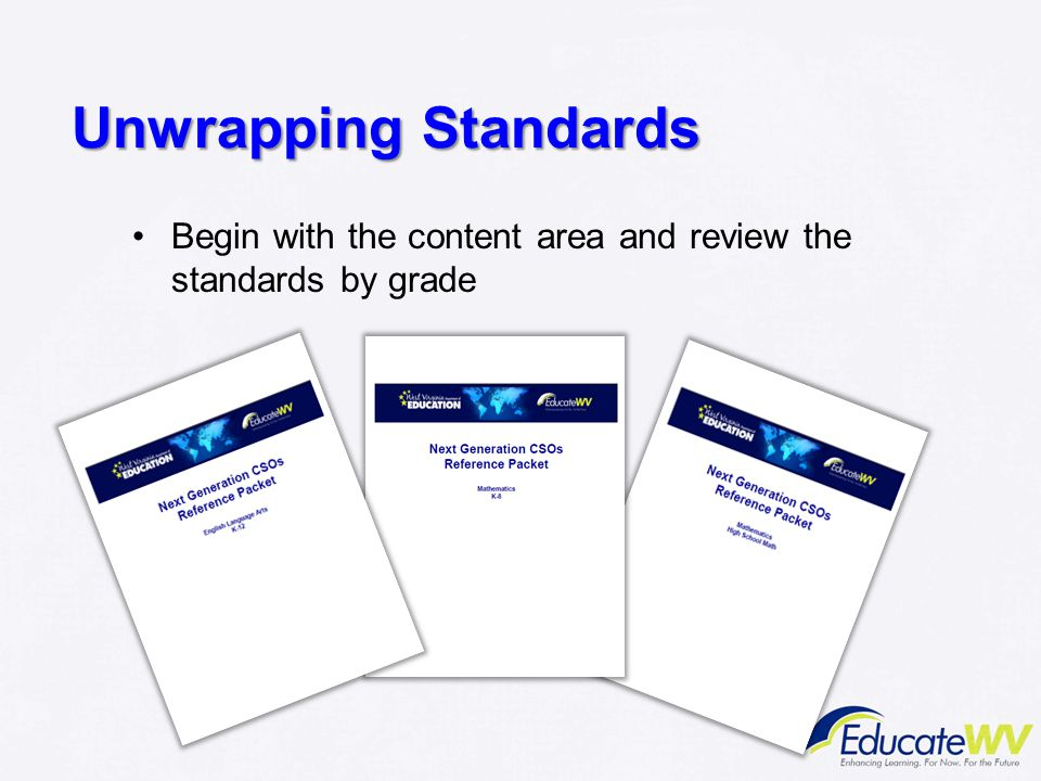 Unwrapping Standards Begin with the content area and review the standards by grade