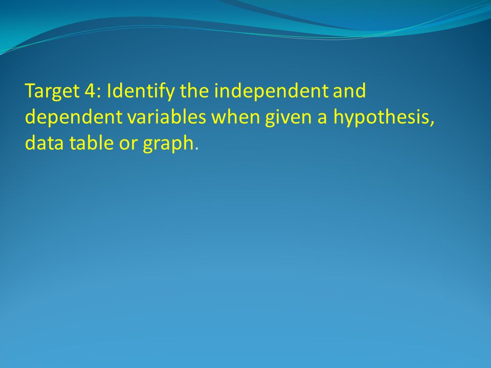 Target 4: Identify the independent and dependent variables when given a hypothesis, data table or graph.