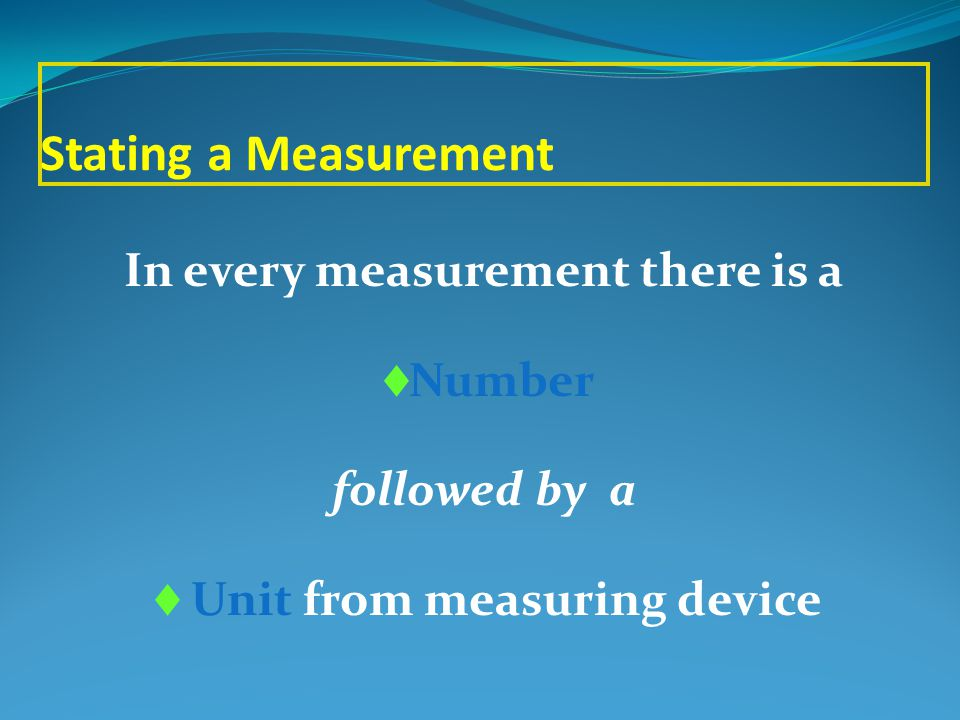 In every measurement there is a Unit from measuring device