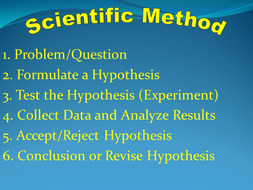 Scientific Method 1. Problem/Question. 2. Formulate a Hypothesis. 3. Test the Hypothesis (Experiment)
