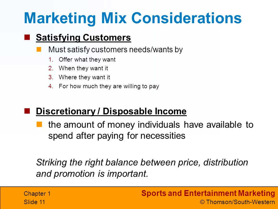 Marketing Mix Considerations