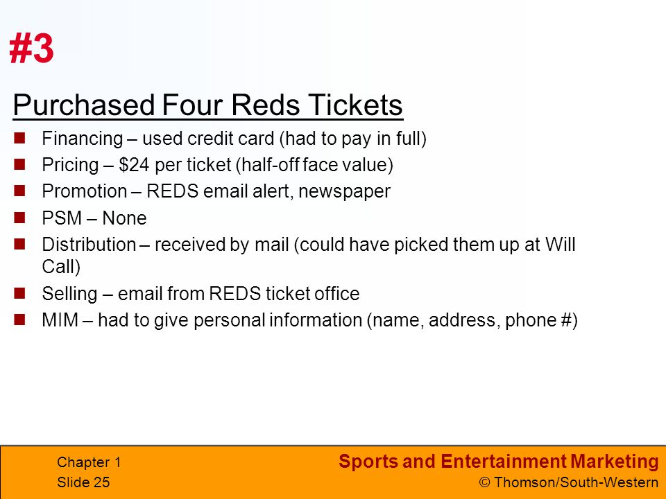 #3 Purchased Four Reds Tickets