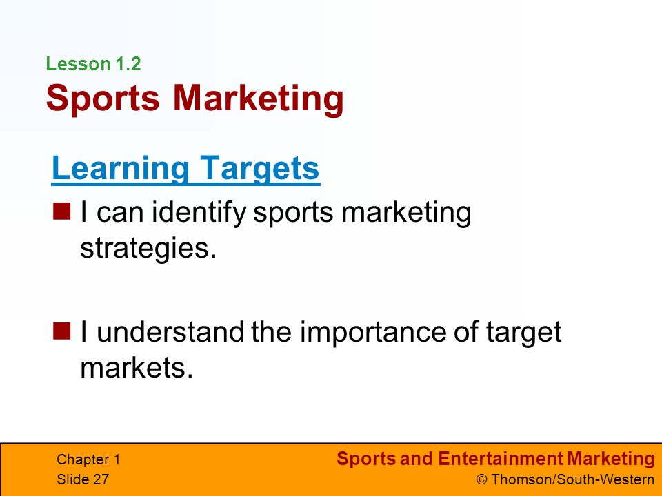 Lesson 1.2 Sports Marketing