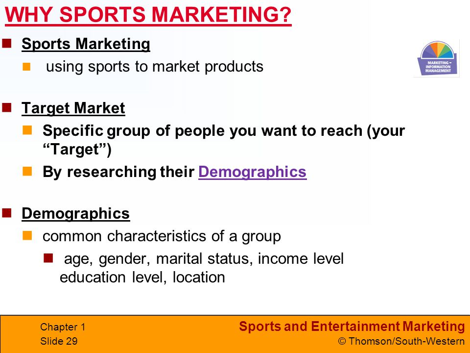 WHY SPORTS MARKETING Sports Marketing Target Market