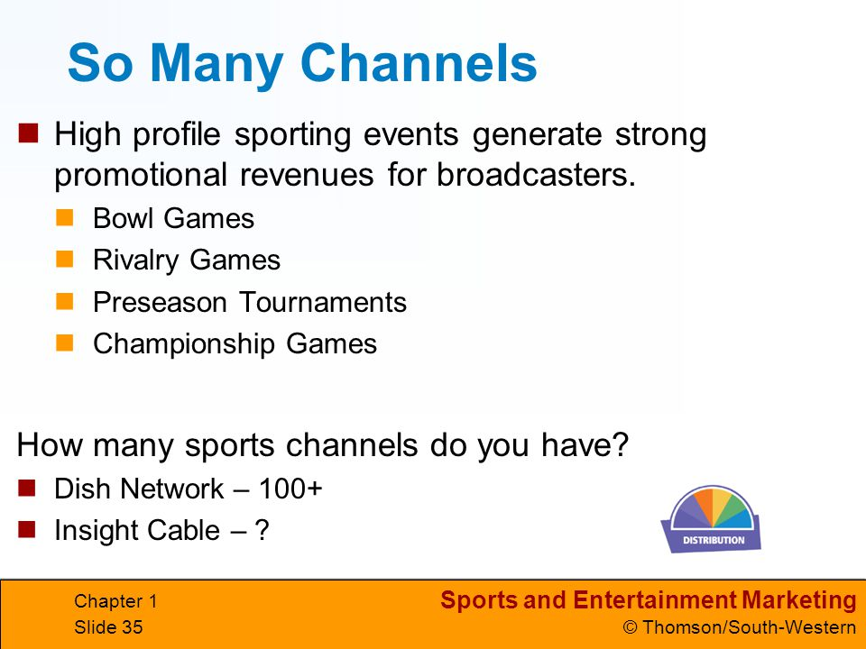 So Many Channels High profile sporting events generate strong promotional revenues for broadcasters.