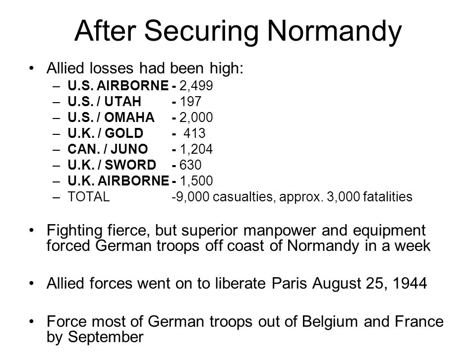After Securing Normandy