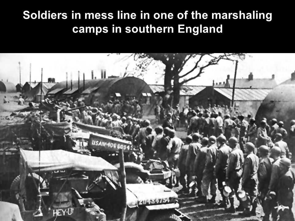 Soldiers in mess line in one of the marshaling camps in southern England