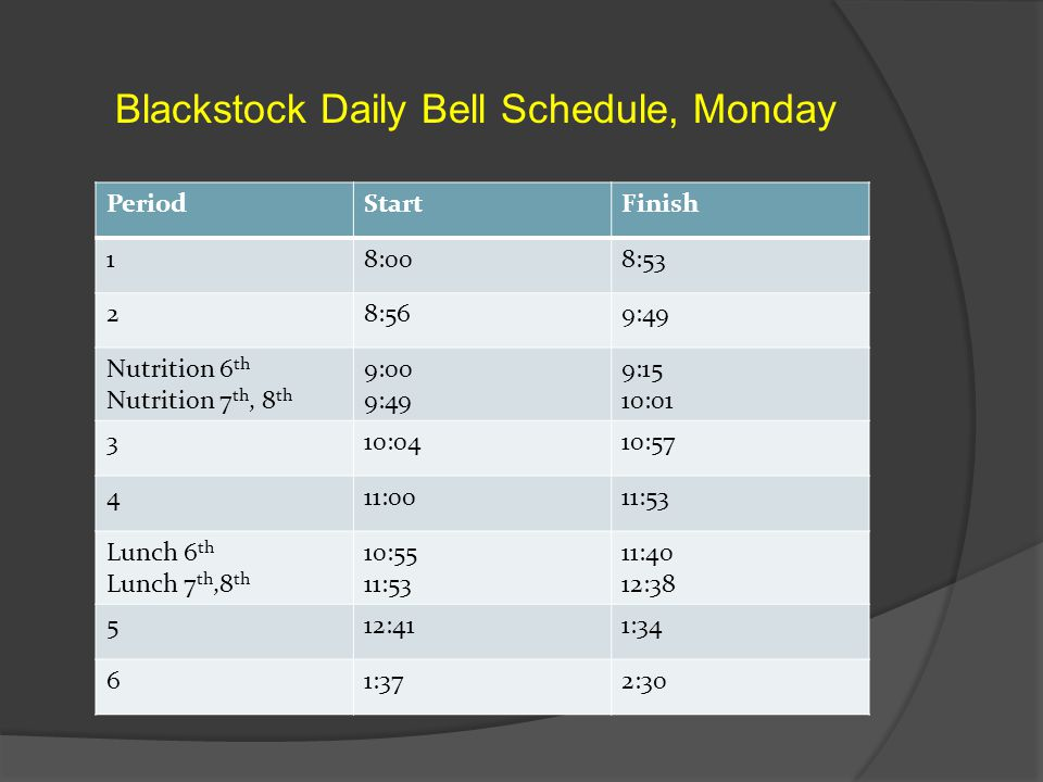 Blackstock Daily Bell Schedule, Monday