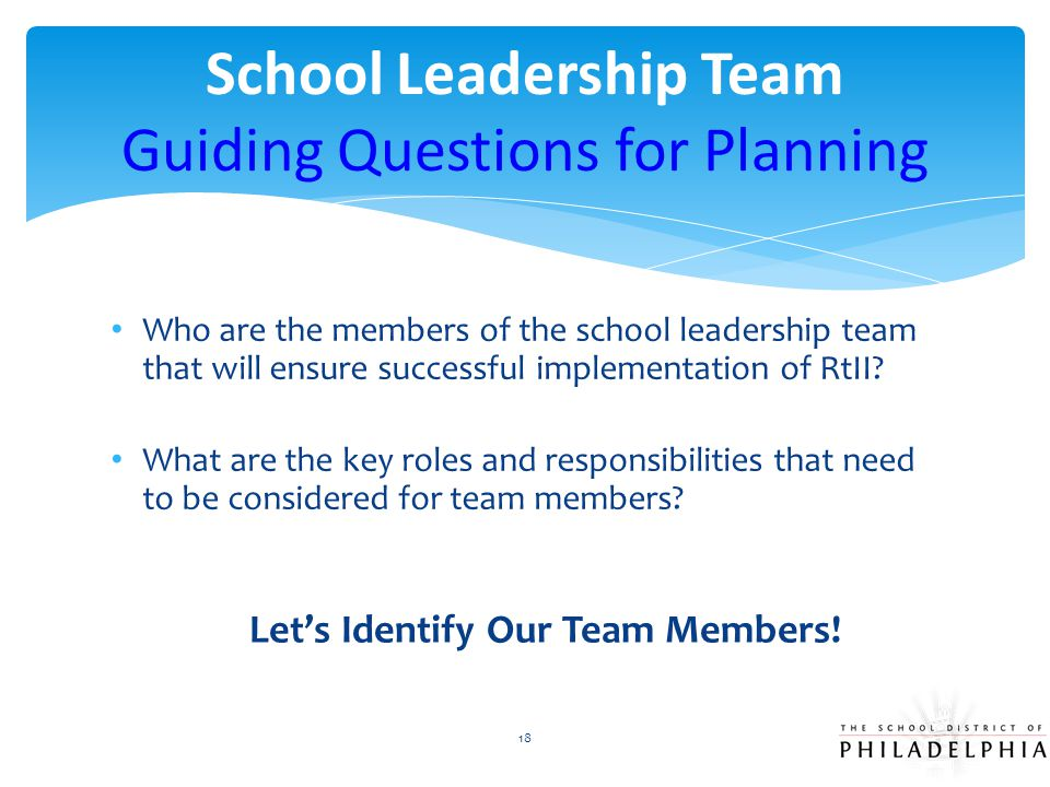 School Leadership Team Guiding Questions for Planning