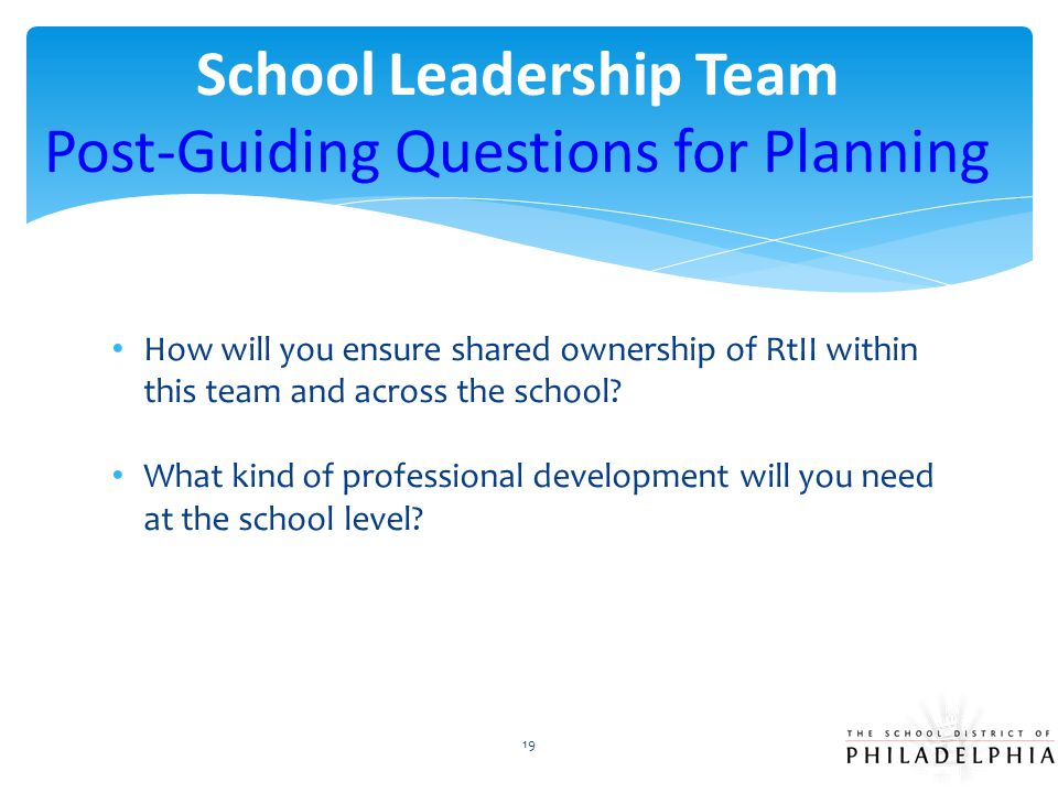 School Leadership Team Post-Guiding Questions for Planning
