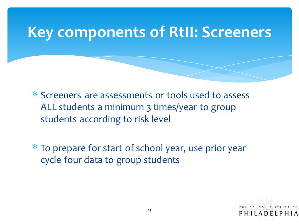 Key components of RtII: Screeners