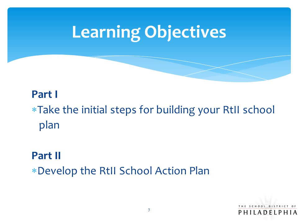 Learning Objectives Part I