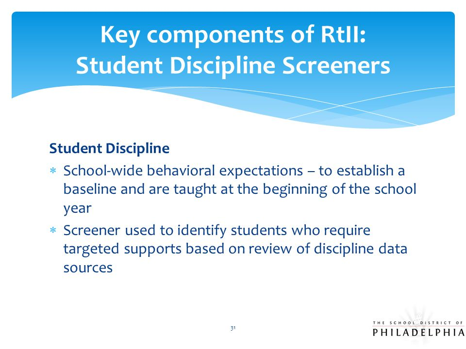 Key components of RtII: Student Discipline Screeners