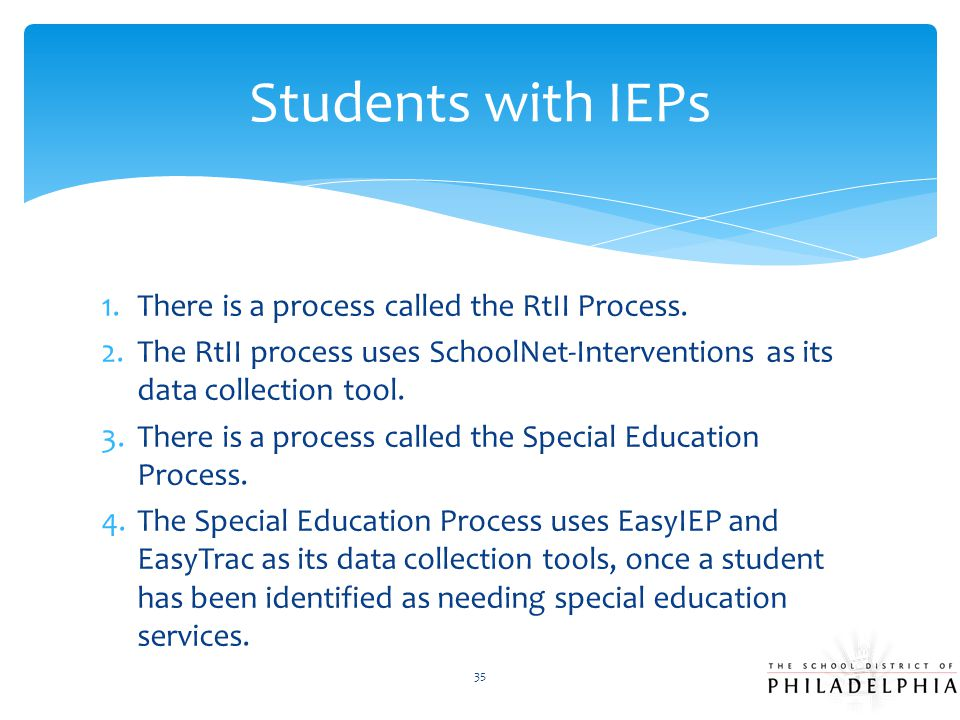 Students with IEPs There is a process called the RtII Process.