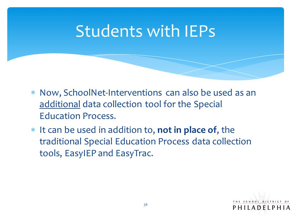 Students with IEPs Now, SchoolNet-Interventions can also be used as an additional data collection tool for the Special Education Process.