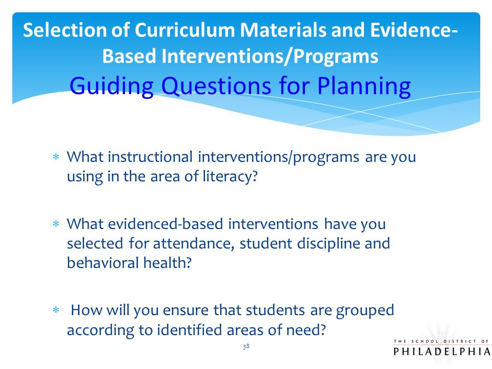Selection of Curriculum Materials and Evidence-Based Interventions/Programs Guiding Questions for Planning