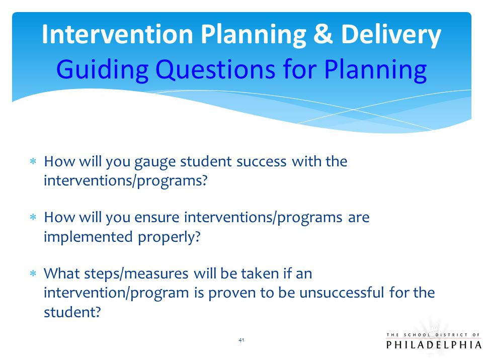 Intervention Planning & Delivery Guiding Questions for Planning