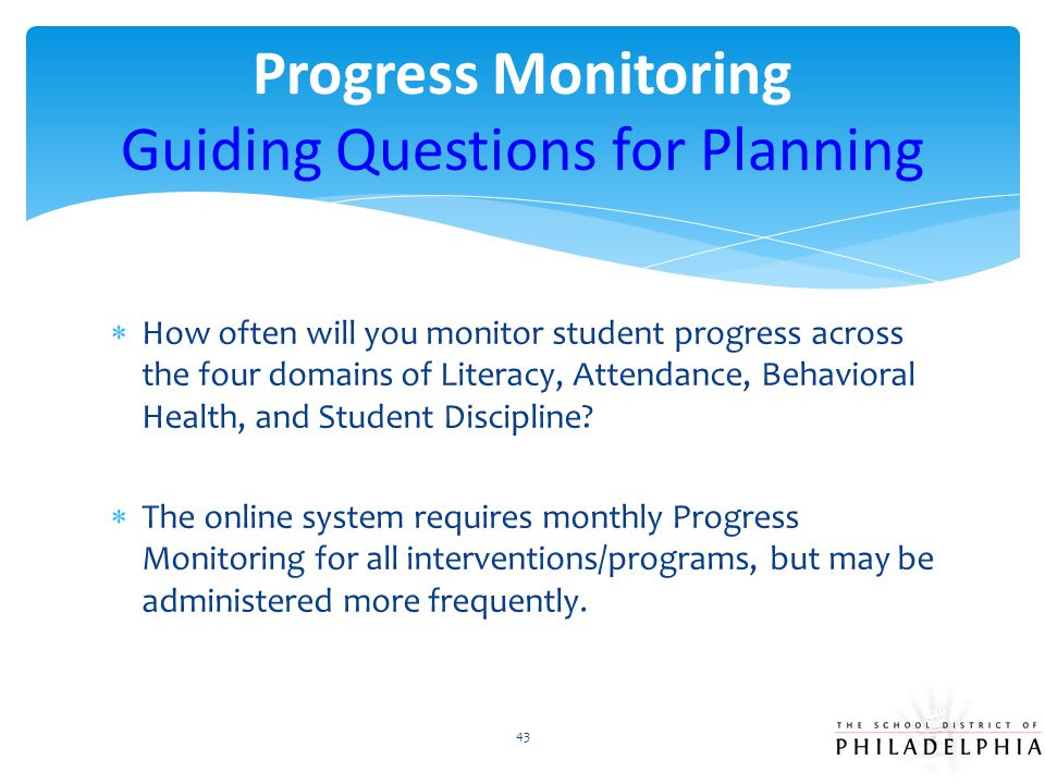 Progress Monitoring Guiding Questions for Planning