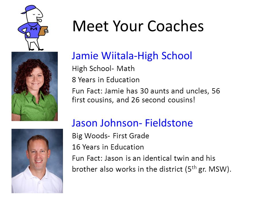 Meet Your Coaches Jamie Wiitala-High School Jason Johnson- Fieldstone